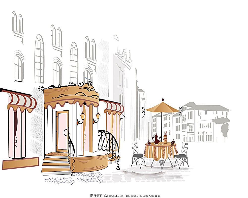手绘街道咖啡馆素材 素描 路边 咖啡厅 路灯 欧式 建筑 其他