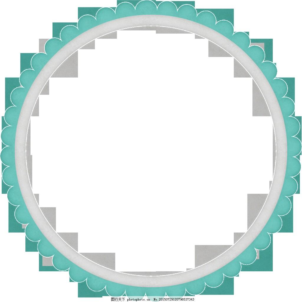 素净简约的圆形边框透明素材 白色 花边 蓝色 免扣素材 圆框 装饰图片