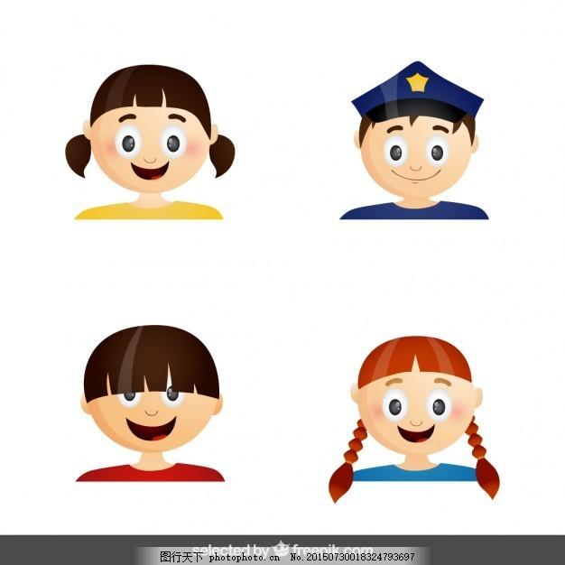 少年的面孔 卡通脸 性格的化身 孩子 警察 剖面 卡通人物 表情图片