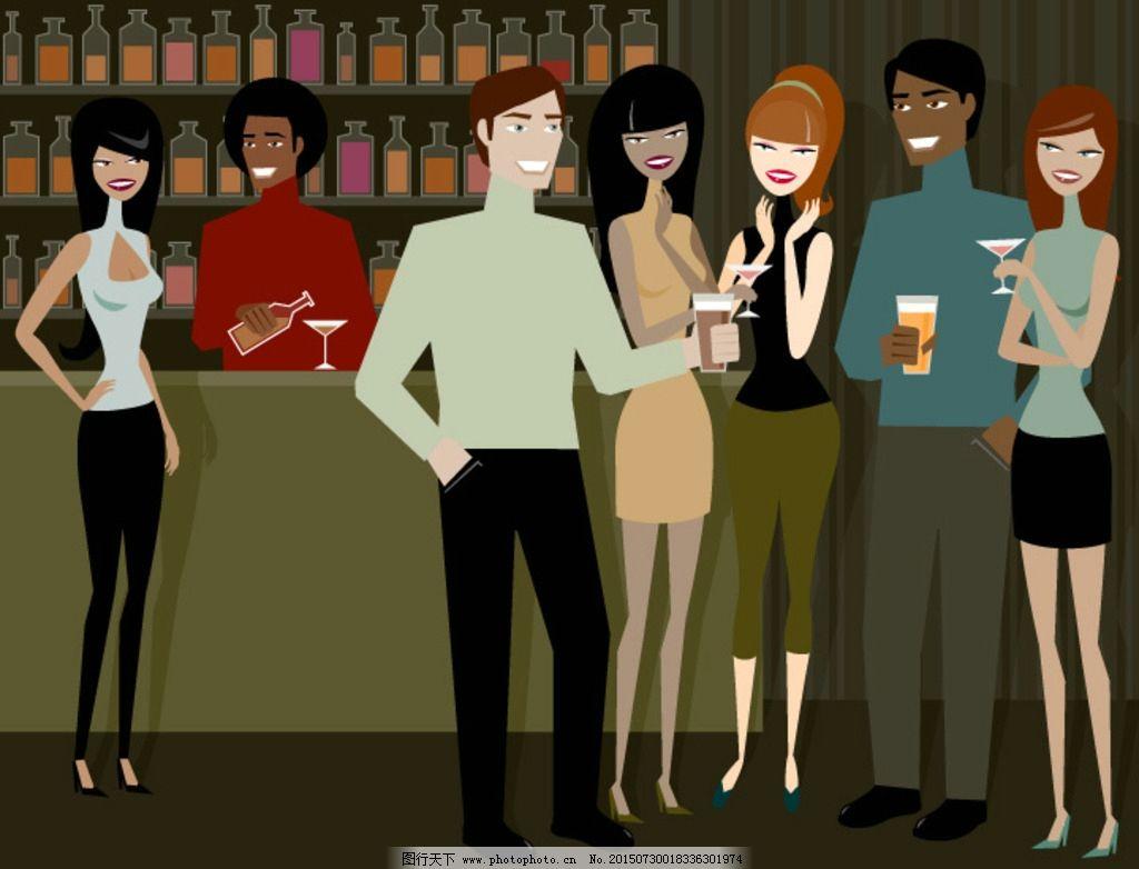设计图库 动漫卡通 动漫人物  酒吧调酒师 时尚男女聚会 休闲娱乐