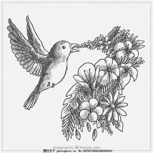 用手画出可爱的小鸟 花 自然 动物 翅膀 树叶 羽毛 鸟类 丛林