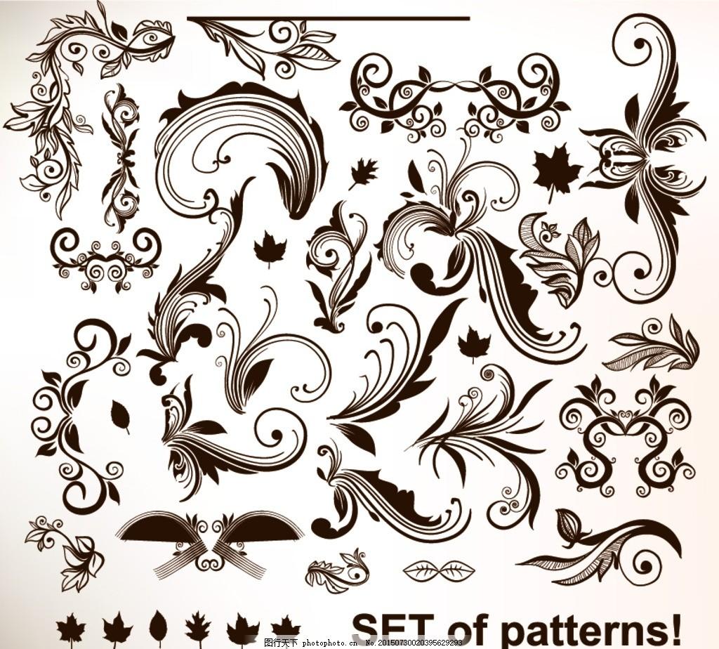 精美 古典 时尚 设计 花纹 欧式花纹 分隔线 花边 传统 手绘 矢量
