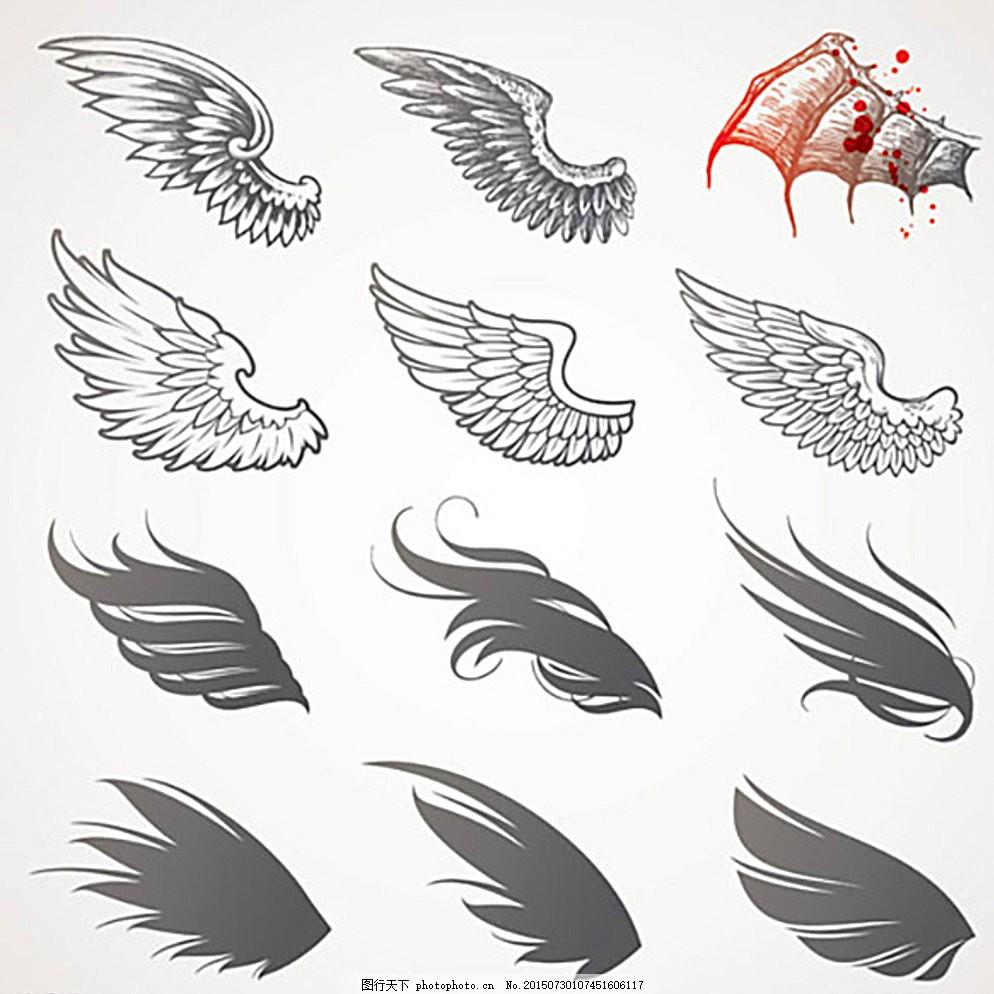 翅膀 素描 老鹰翅膀 动物翅膀 设计专辑 文化艺术 绘画书法 白色