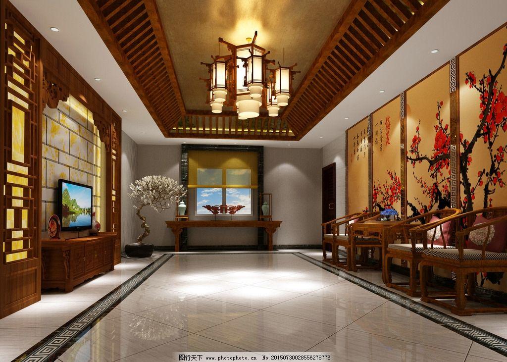 中式酒店 中式宾馆 会客厅效果图 酒店效果图 酒店设计 宾馆效果图