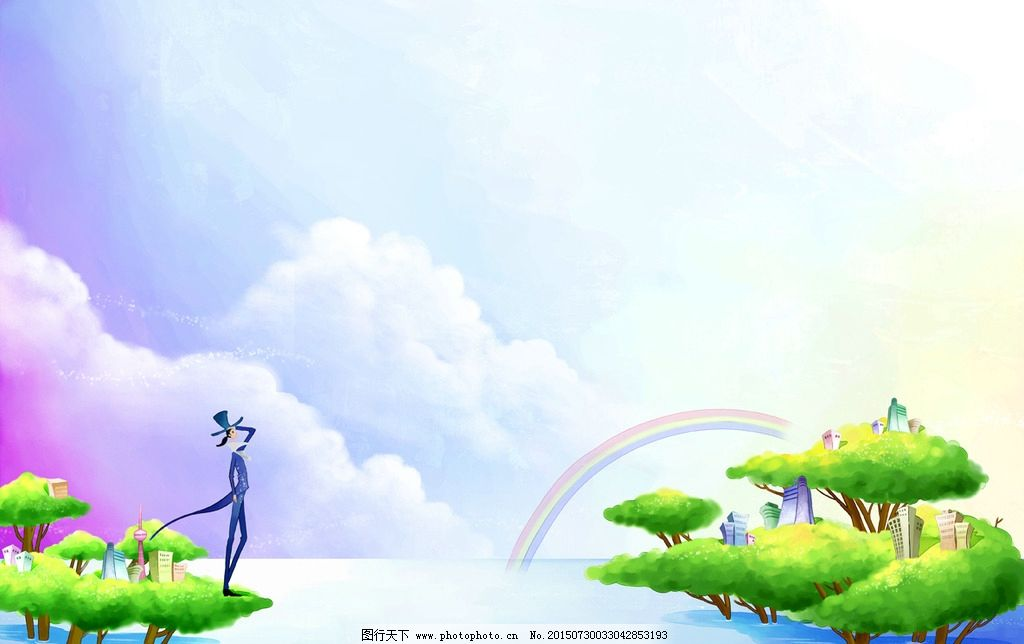卡通蓝天白云背景图片