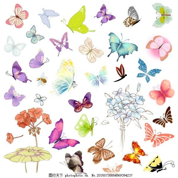 手绘蝴蝶 手绘 蝴蝶 昆虫 翅膀 花朵 psd 白色