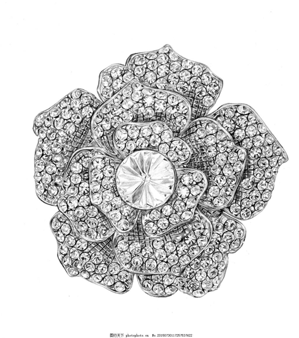 银色手绘花朵钻石首饰