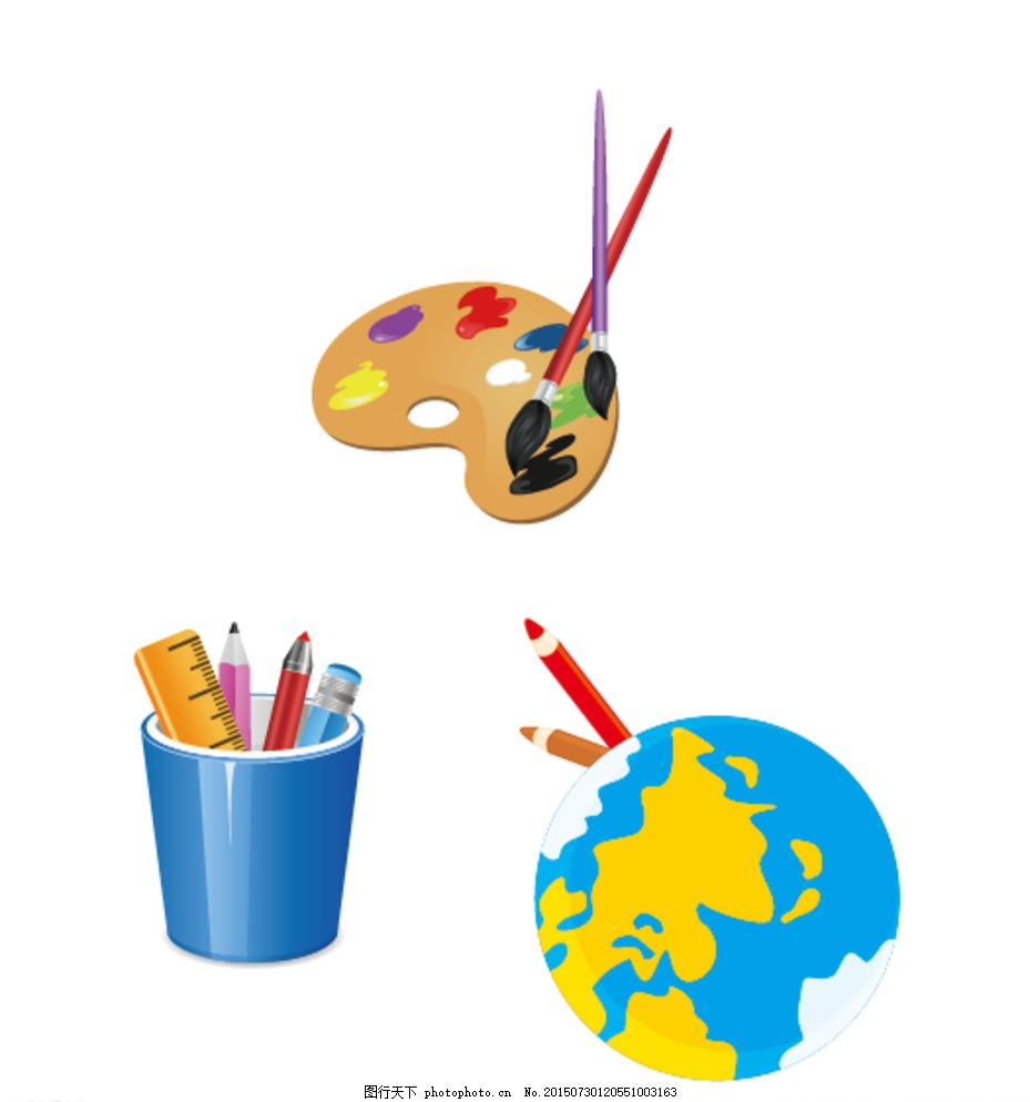 笔筒 地球 调色盘 卡通素材 可爱 素材 手绘素材 幼儿园素材 抽象