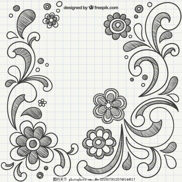 用手画的饰物 花 饰品 手绘 笔记本 绘画 装饰 手工绘图 绘制的