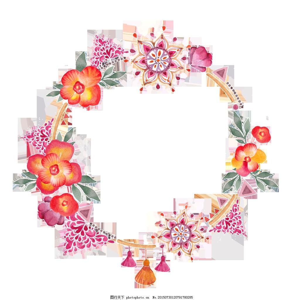文艺小清新花环装饰素材 花藤 手绘 手账装饰 头饰