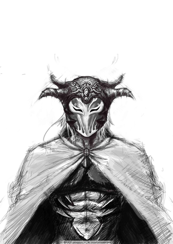 黑白面具男手绘插画