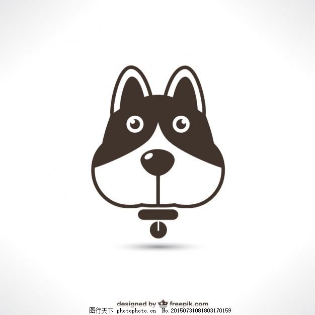 图标 狗 动物 平 标识 商店 可爱的剪影 黑色的 宠物 象形 象征 扁平