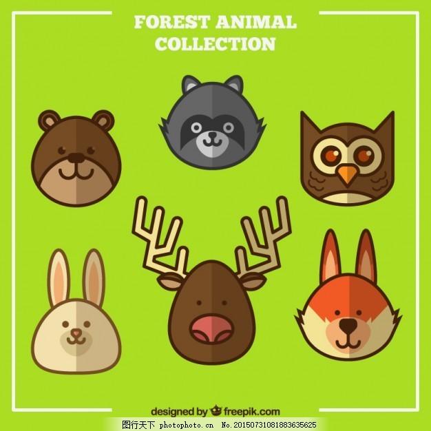 平板森林动物收藏 自然 猫头鹰 平坦 可爱 熊 兔子 平面设计