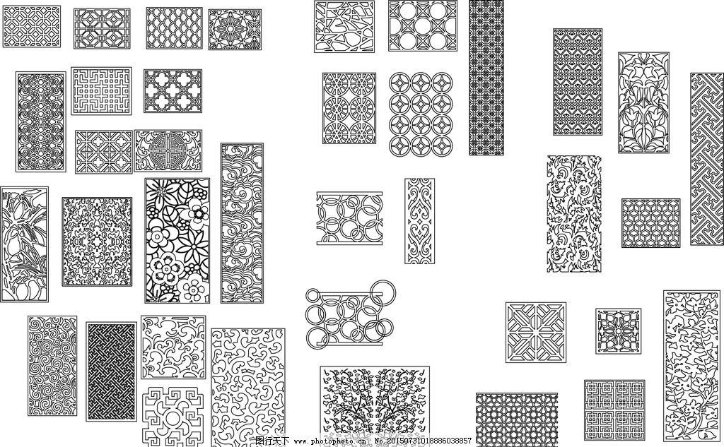 中式镂空雕花花纹矢量线条图片,古典-图行天下图库