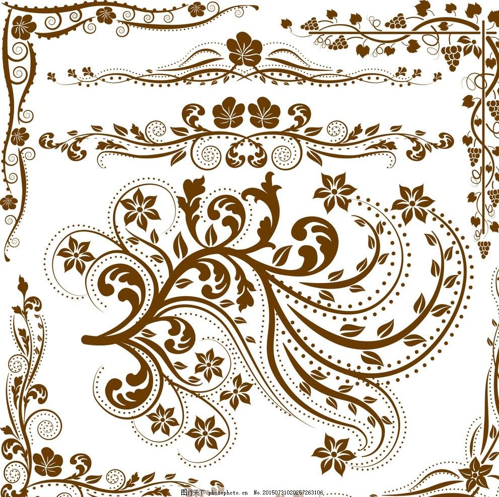 欧式花纹底纹 黑白花纹边框 装饰线条元素 欧式 花纹 欧式背景 金色