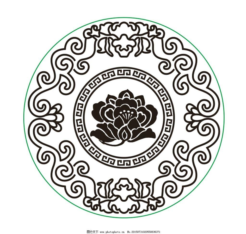圆形 花纹 圆环 回纹 蝙蝠 花  设计 底纹边框 条纹线条  cdr