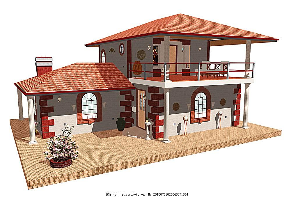 红色屋顶的别墅
