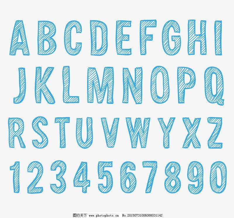 斜纹蓝色字母数字艺术字矢量图图片