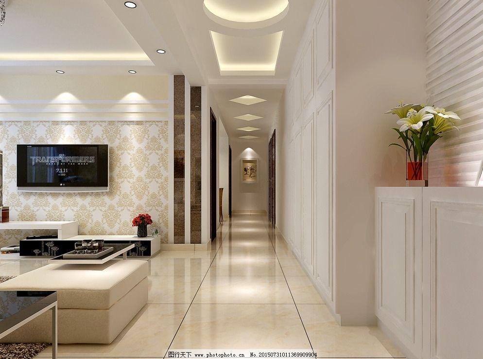 走廊        现代风格 装修效果图 电视背景墙 走廊吊顶 衣帽
