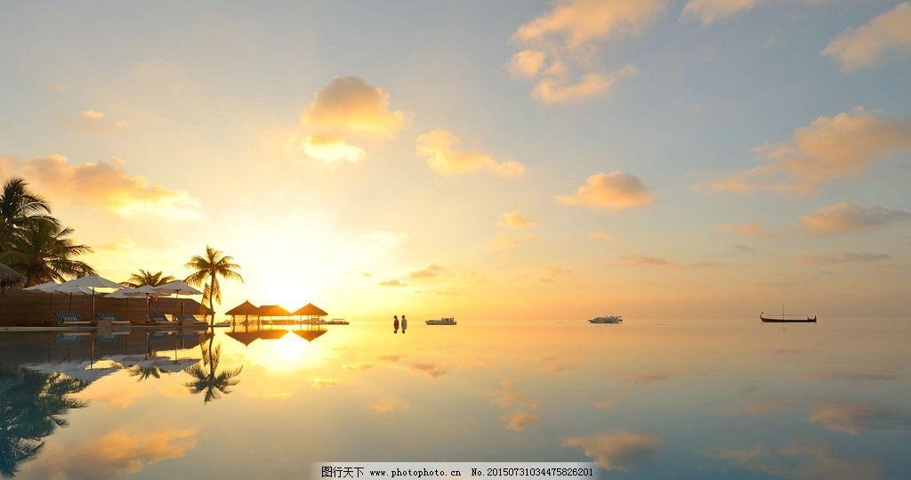 泳池 酒店 海边 沙滩 棕树  摄影 自然景观 山水风景 2dpi jpg