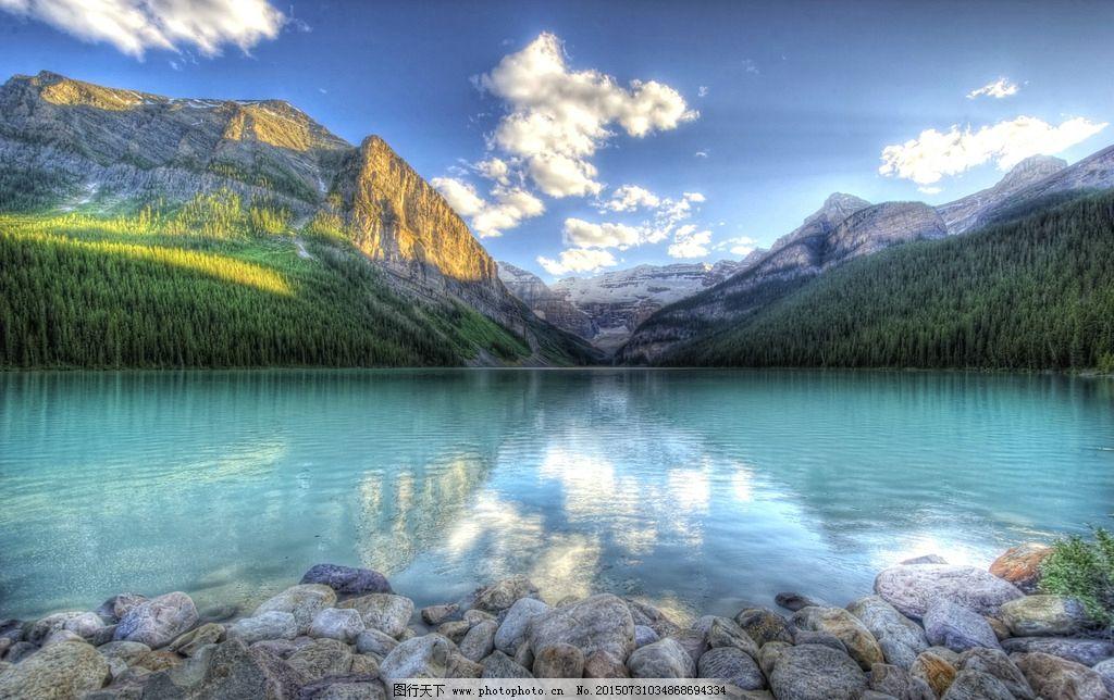 绿树 山峰 雪山 高山 蓝天白云 电脑桌面屏保 摄影 自然景观 自然风景