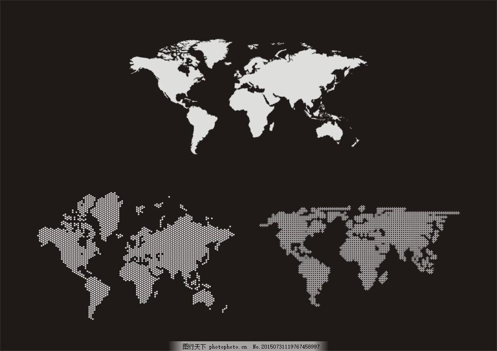 世界地图黑白_黑白世界地图壁纸