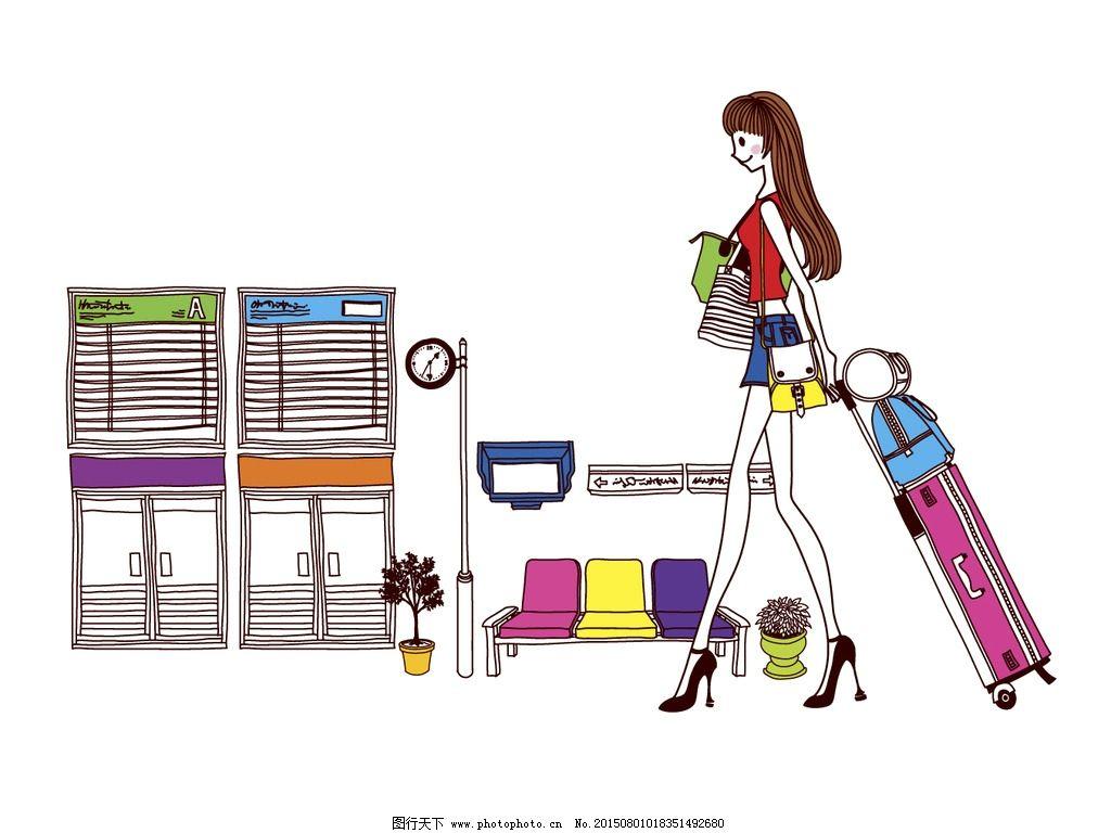 时尚女孩出门旅行简笔画场景插画图片
