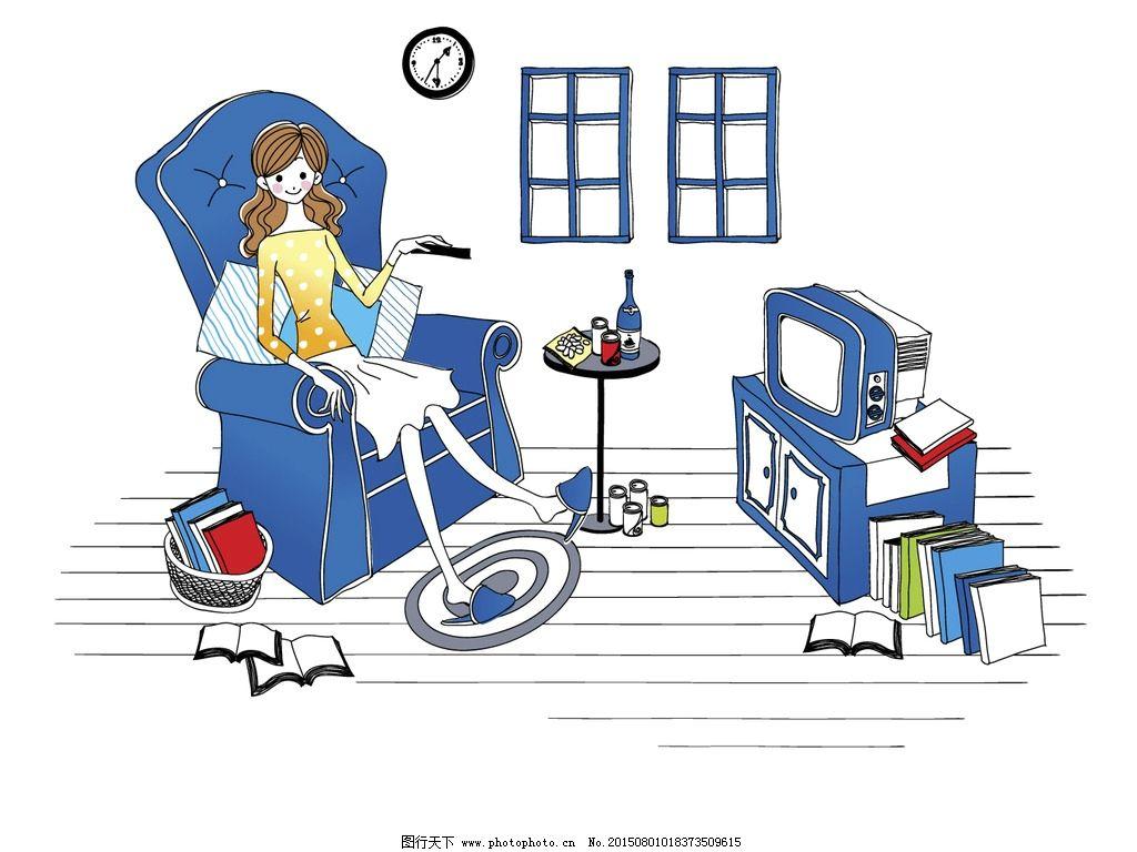 时尚女孩看电视简笔画插画图片