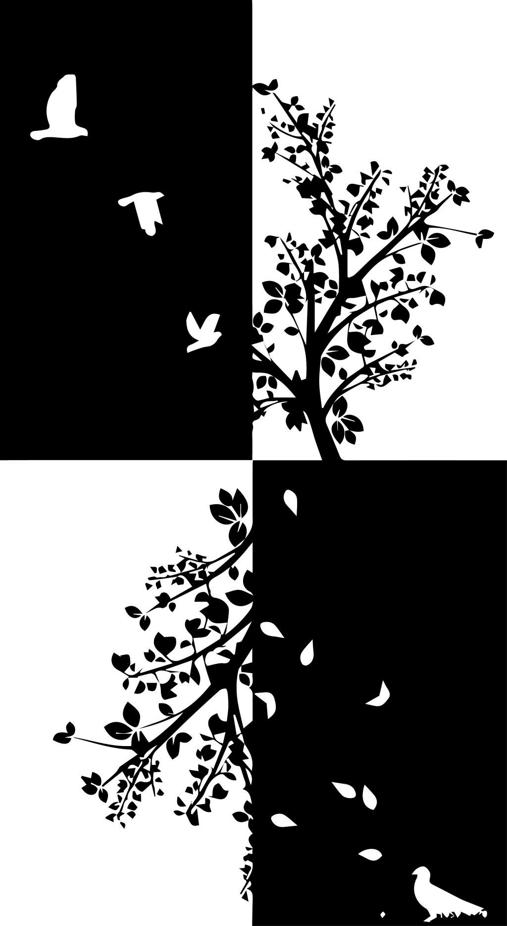 黑白装饰画 装饰画 风景 植物 动物 底稿 黑稿 墙画 鸟 四格装饰画