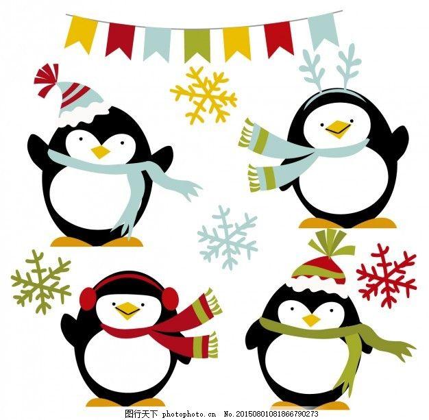 冬天快乐的企鹅 自然 国旗 动物 雪花 旗帜 冷 围巾 季节 豆豆