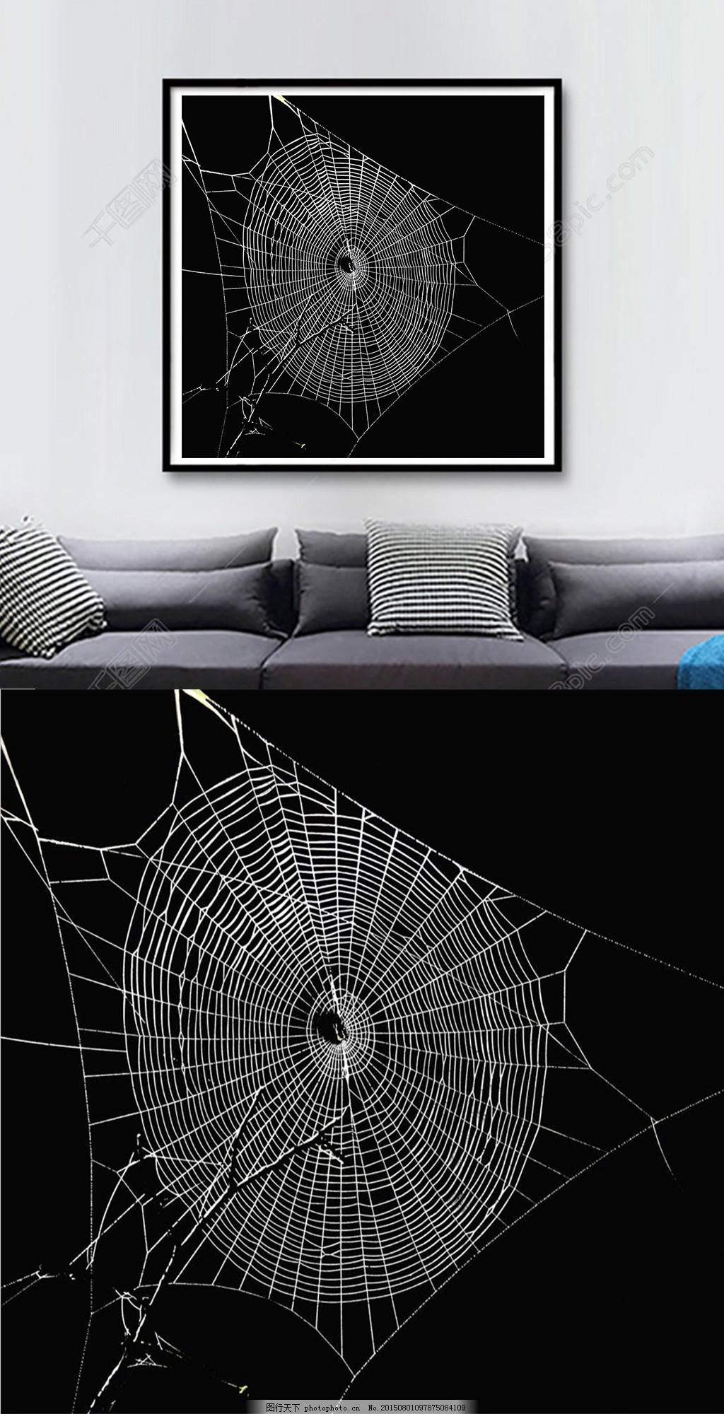 方图黑白创意蜘蛛网装饰画