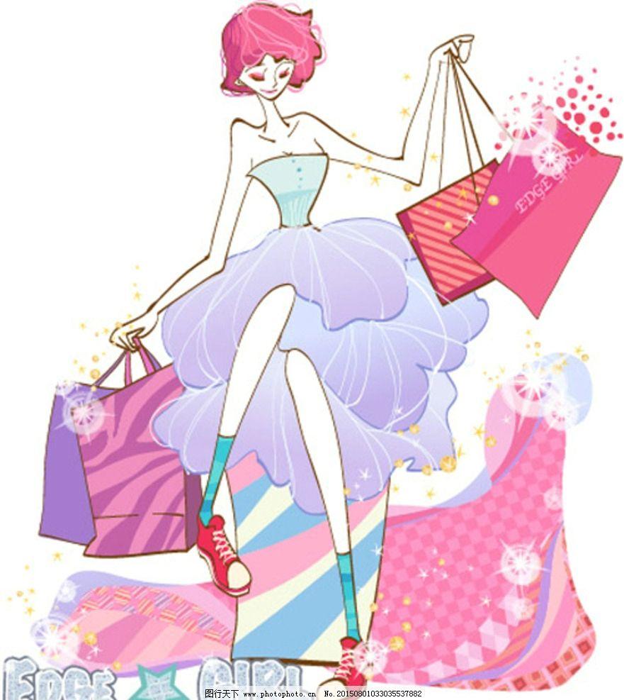 美女购物插画图片