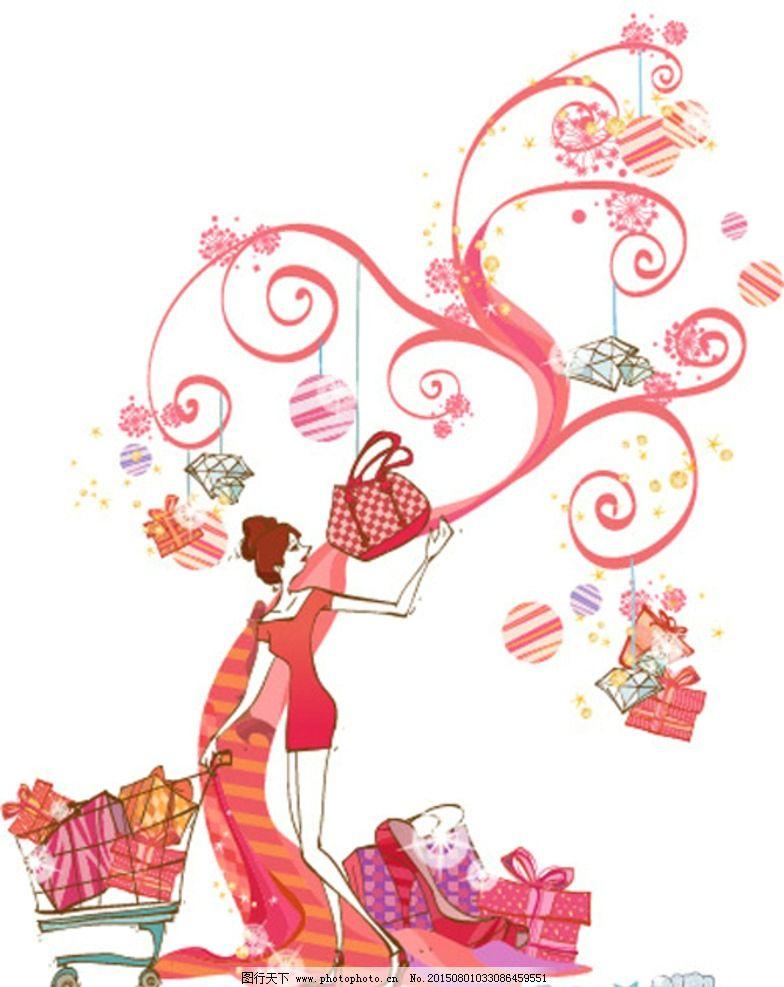 美女购物 美女 美女插画 韩国美女插画 矢量美女 卡通插画 商场卡通