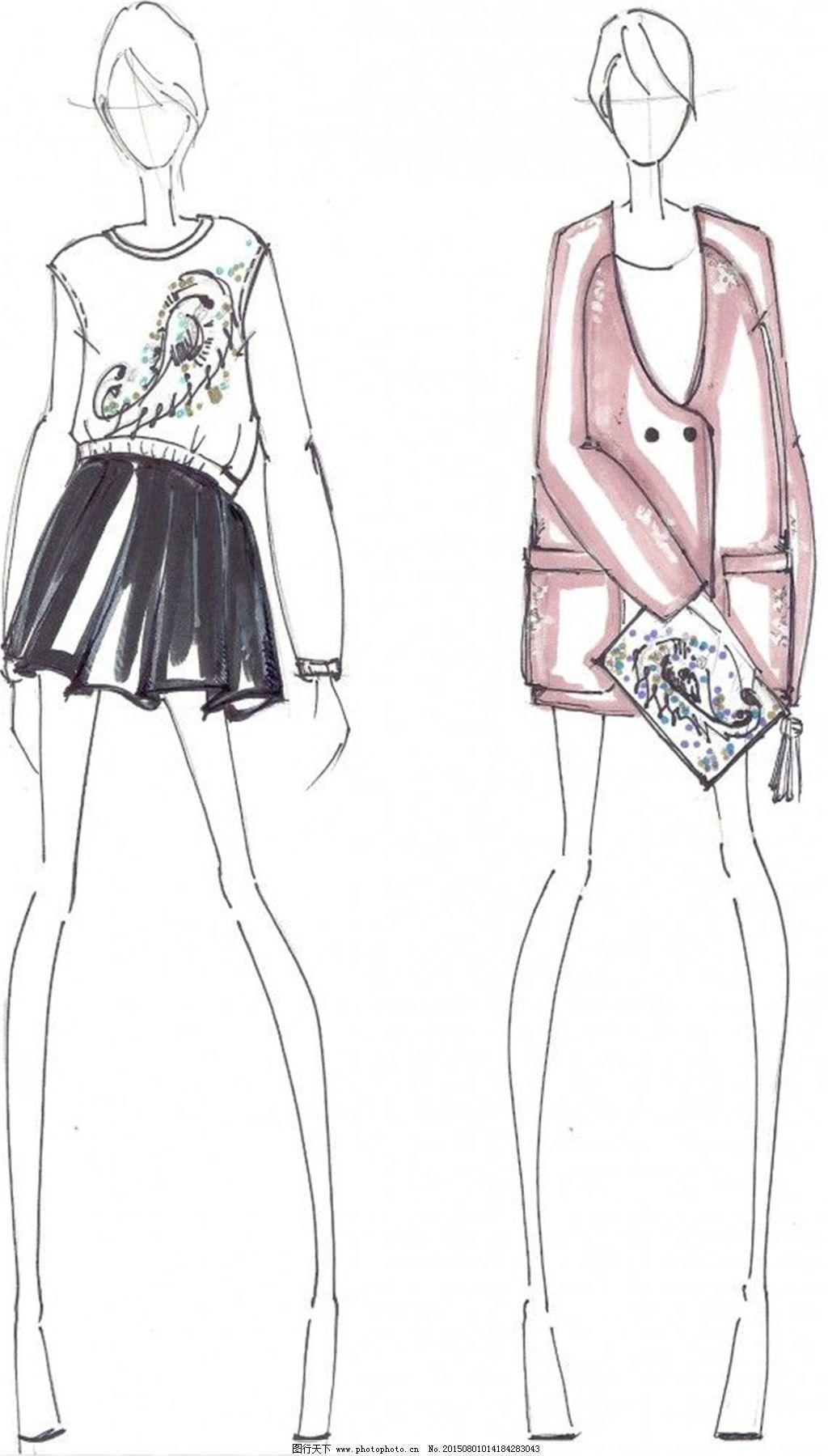 服装设计手绘效果图_手绘服装设计