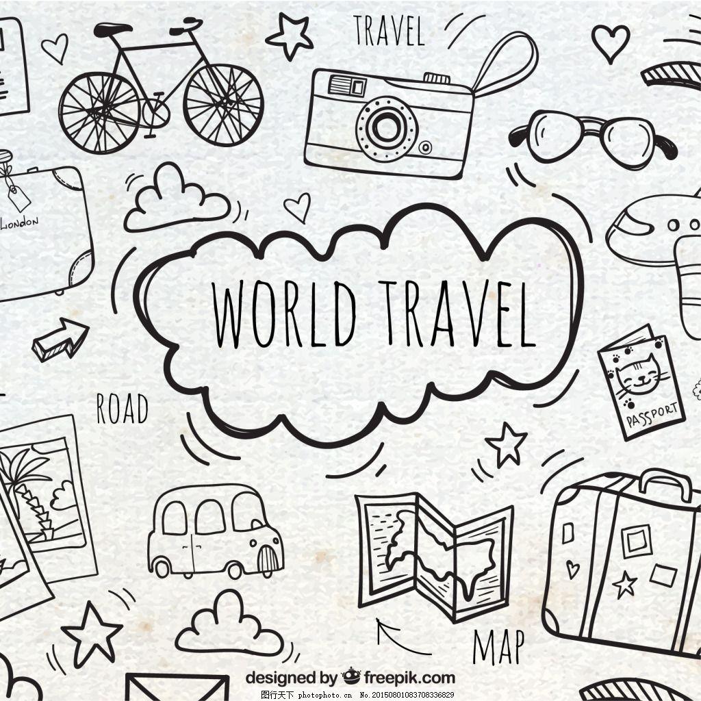 手绘线稿旅游素材背景 旅游 手绘 涂鸦 线稿 地图 交通工具 eps 白色