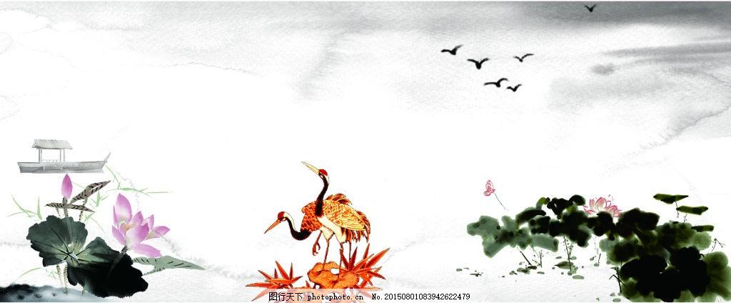 山水画墙绘 水墨 山水 国画 荷花 墙绘 手绘 仙鹤 展板 cdr 白色 cdr
