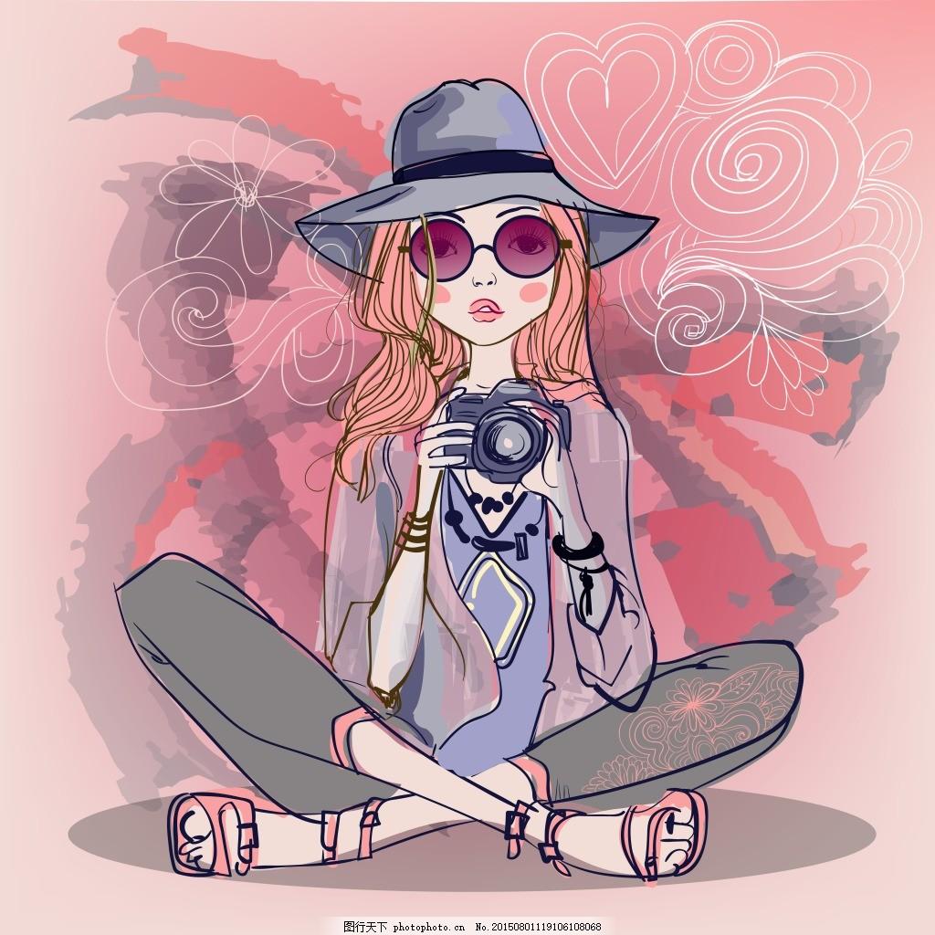 水彩绘女生 可爱 手绘 水彩绘 女生 人物 ai 粉色 ai
