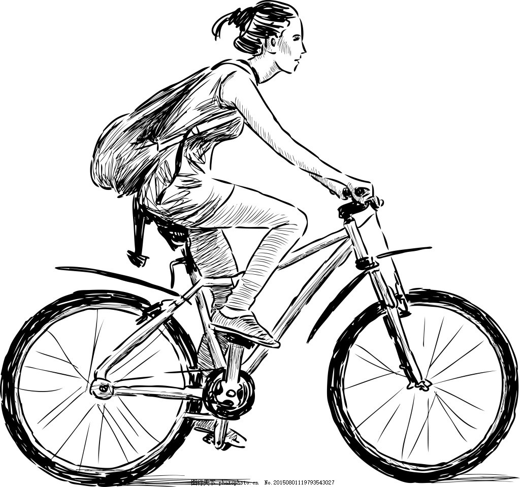 骑自行车的人 手绘 速写 人物 白色