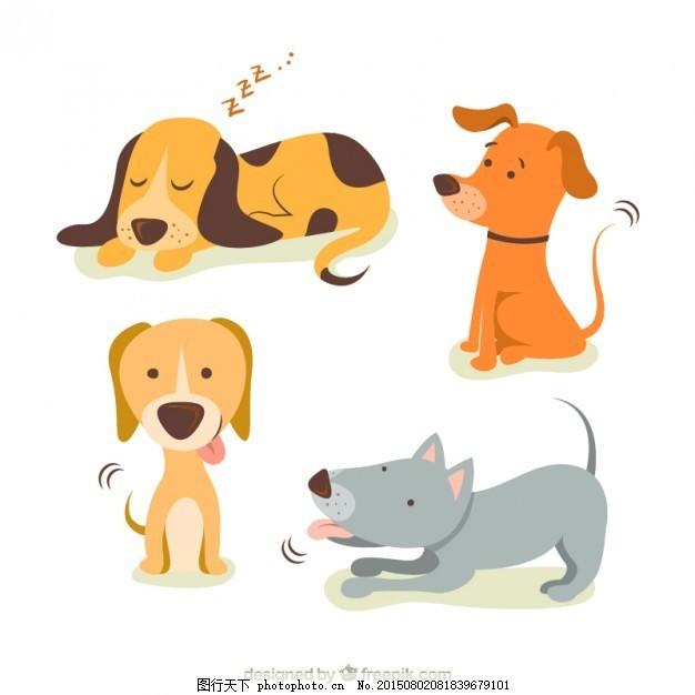 狗的可爱插图 狗 动物 卡通 可爱 宠物 睡眠 玩耍 插图 可爱的动物