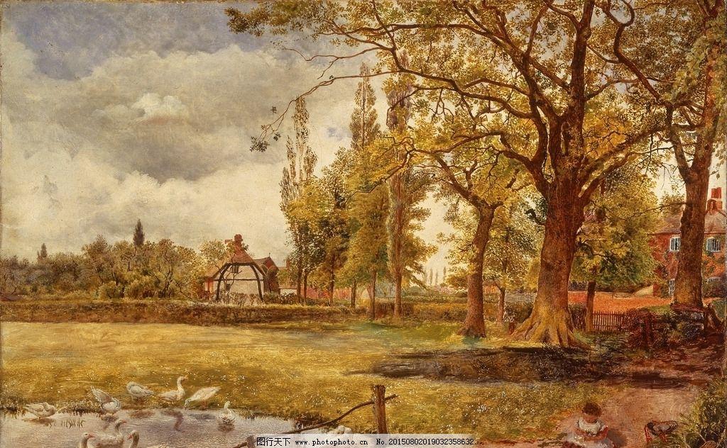 树林 森林 秋天 丛林 布面油画 风景油画 古典油画 装饰画 壁画 油画
