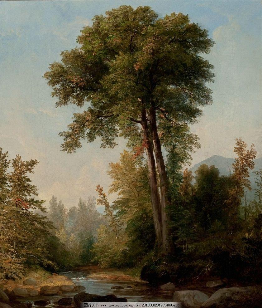 树林 森林 河畔 丛林 布面油画 油画风景 古典油画 装饰画 壁画 油画