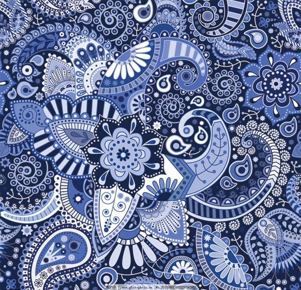 蓝色复古欧式花纹图片