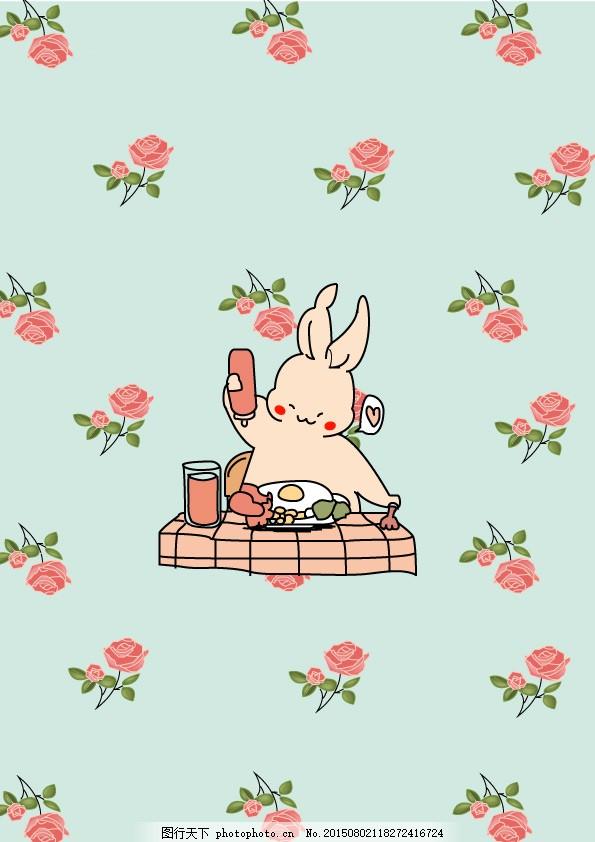 小兔子 美食 玫瑰花 蓝色背景 矢量画 ai原文件 可爱 青色 天蓝色