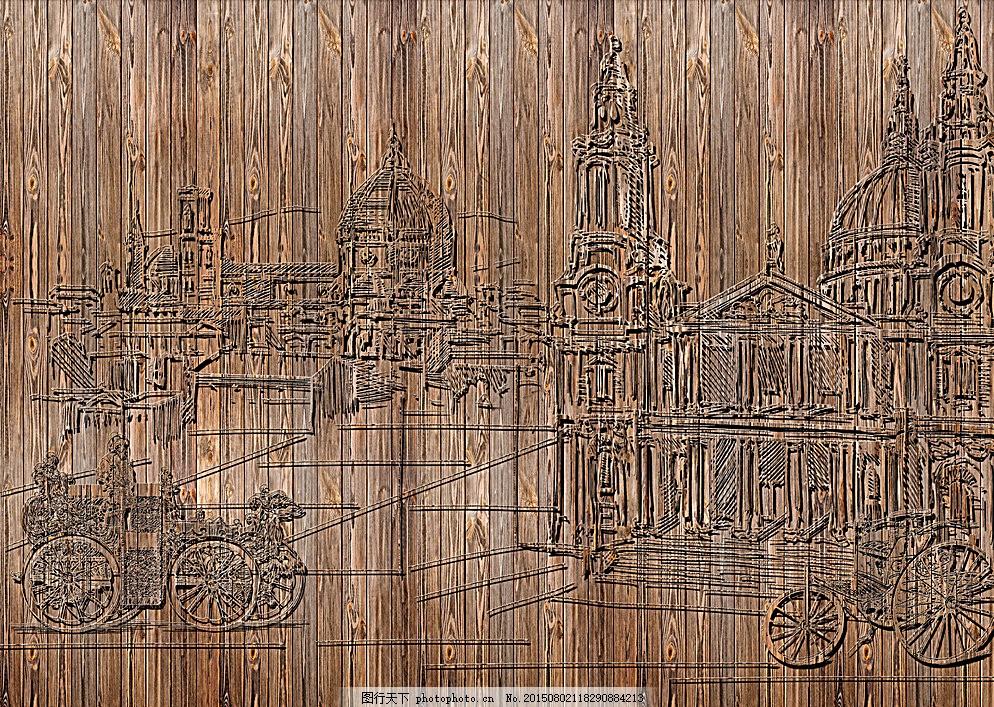 浮雕建筑背景 立体 复古 木纹 欧式 原创 背景素材 灰色