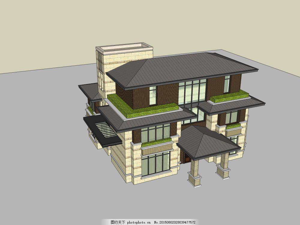 欧式别墅 建筑 外观 模型 灰色