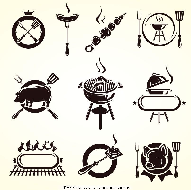 烧烤图标 烧烤素材 烧烤矢量图 烤串 白色