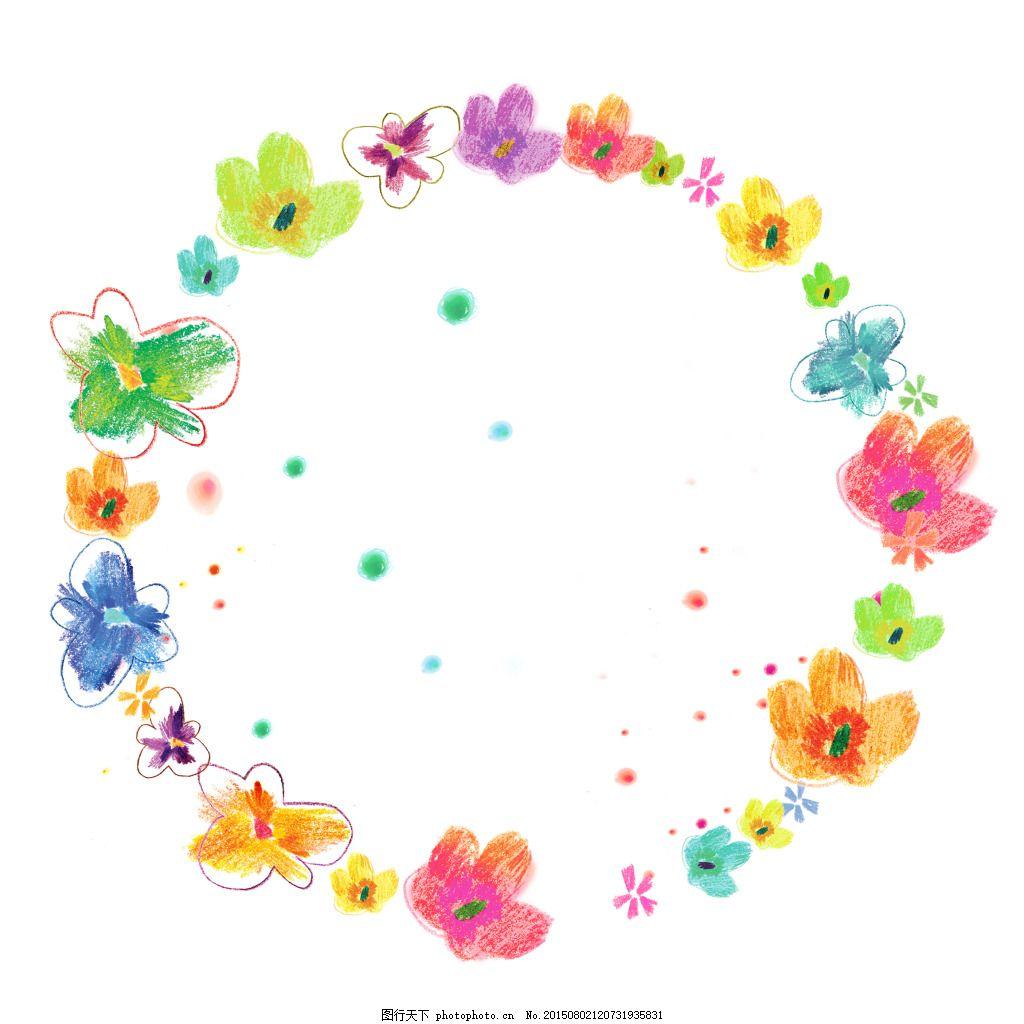 彩色手绘花环