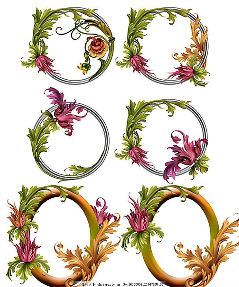 花卉边框 圆形边框 椭圆形边框 欧式花边 欧式花纹 玫红色花朵