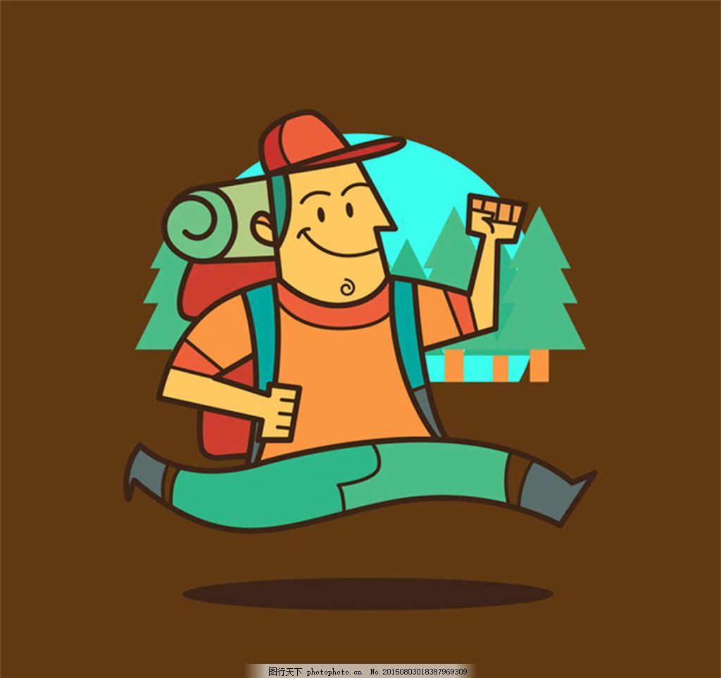 奔跑的背包客 卡通人物 背包客 男性 森林 旅行 野营 奔跑 矢量素材