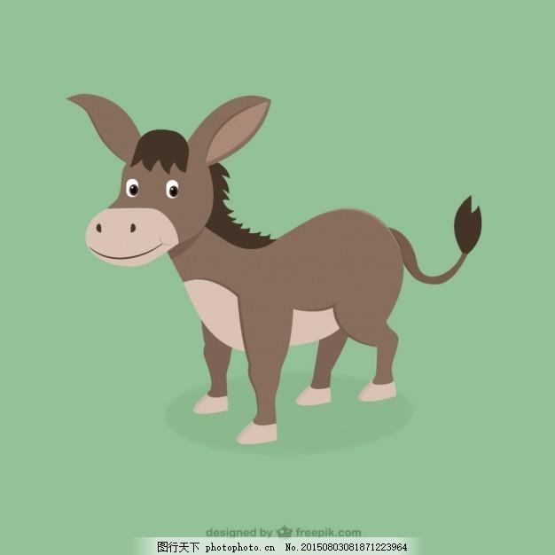 可爱的驴 动物 可爱 绘画 驴子 可爱的动物 负担 牲畜的负担 ai 绿色